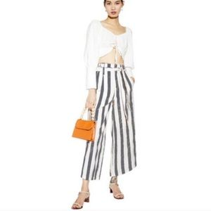 {Christian Siriano} Linen Striped Wide Leg Pants